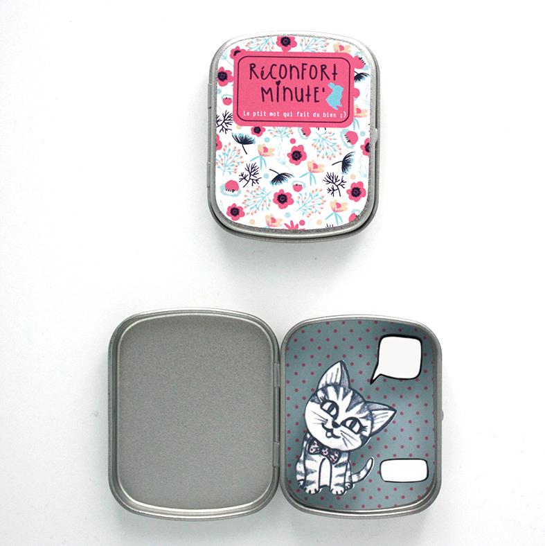 Boite réconfort minute personnalisée chat gris bulle et signature - Boite Réconfort Minute personnalisable 1 bulle et signature