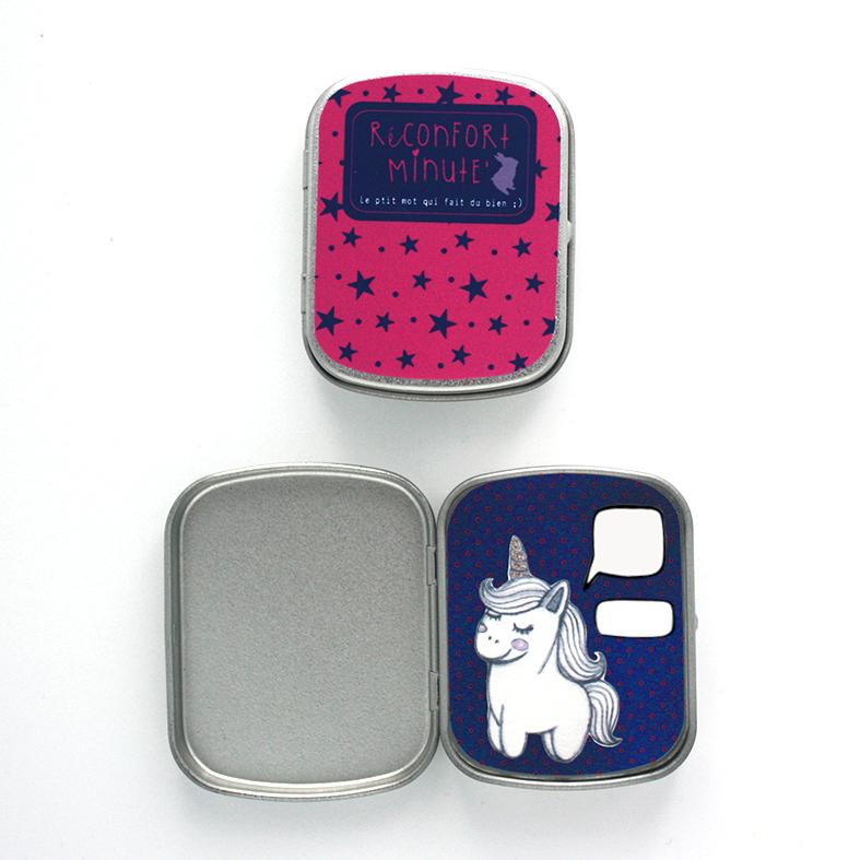 Boite réconfort minute personnalisée licorne fushia bulle et signature - Boite Réconfort Minute personnalisable 1 bulle et signature