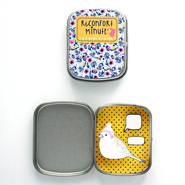 Boite réconfort minute personnalisée oiseau moutarde bulle et signature - Boite Réconfort Minute personnalisable 1 bulle et signature