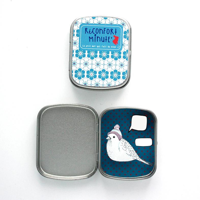 Boite réconfort minute personnalisée oiseau turquoise bulle et signature - Boite Réconfort Minute personnalisable 1 bulle et signature