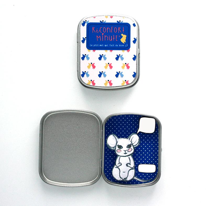 Boite réconfort minute personnalisée souris bleu bulle et signature - Boite Réconfort Minute personnalisable 1 bulle et signature