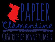 logo papier clementine rouge et bleu avec phrase - Nouveau site pour Papier Clémentine !